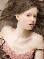 Beautiful angelic teenager plays